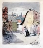 Jelzett színes rézkarc: Tabán 1930
