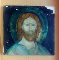Jézus ikon 14,5x14,5x1cm-es fára festett, ismeretlen