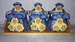 Porcelán fűszertartó, tároló bonbonier, fedeles tálka (3 db)