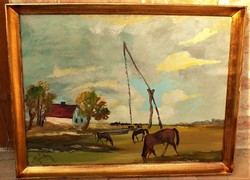 Gábri Albert (1935-2004) Legelő lovak c olajfestménye 86x66cm Eredeti Garanciával!!