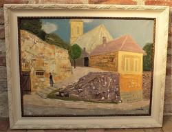 Tamás Ervin (1922-2006) Utcarészlet c olajfestménye 95x75cm Eredeti Garanciával!!