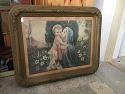 Gyönyörű hibátlan antik Bieder blondel keret benne egyházi papirkép