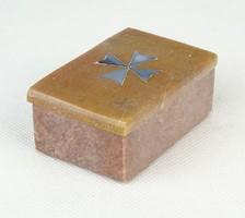 0P916 Gyöngyház berakásos márvány ékszertartó