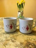 2 db antik, régi, ritka Zsolnay virágos bögre, csésze