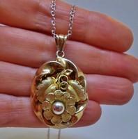 Csodás antik bieder aranyozott ezüstmedál láncon