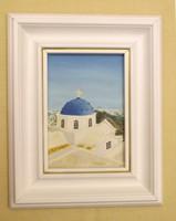 Kék kupolás templom olajfestmény  Görögország