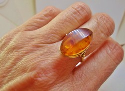 Gyönyörű antik orosz nagy borostyánköves ezüstgyűrű