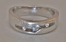 Szép régi széles,fehér köves ezüst gyűrű