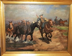 Viski János / Vágtató lovak a vízparton
