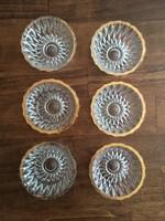 Aranyozott üveg tálkák - 6 db