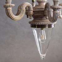 Nyolckarú hatalmas fa csillár modernizált változatban fújt üveg búrával, loft dizájn szerelvényekkel
