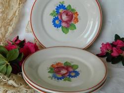 Régi Bavaria rózsás fajansz süteményes tányér, kistányér 3 db 1931-45