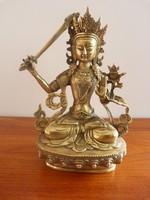 Tibeti, réz Bodhisattva Manjushri szobor, Buddha