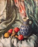 Pilényi Pillich Oszkár: Gyümölcs csendélet kancsóval (Vaszary tanítvány)