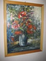 Virágcsendélet  olaj vászon  ,szignós 40x54 + keret