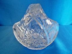 Nagyon szép metszett kristály / üveg füles kosár