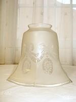 Antik, klasszicista, homokfúvott üveg asztali vagy fali lámpabúra