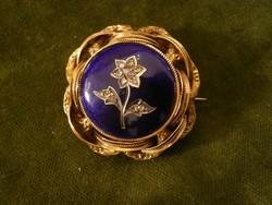 Bieder zománcos arany bross gyémántokkal