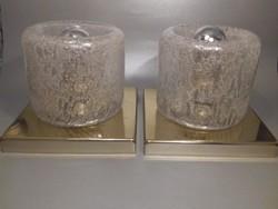 Mid century DORIA design lámpa pár Muránói buborékos üveg búrával
