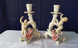 ENS német porcelán gyertyatartó párban -  rózsával, angyallal