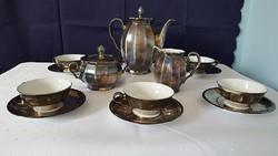 Antik Feinsilber Bavaria ezüstözött porcelán kávéskészlet: csészék, kiöntő, cukortartó