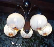 Murano Mazzega csodálatos opál fényű csillár GYönyörű! Art Deco csillár fa betéttel