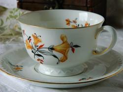 Antik Bavaria Tettau porcelán kávés szett, csésze, csontszínű