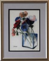 Dr. Hiszekné Judit, Szellőrózsa üvegvázában, selyemakvarell eredetigazolással