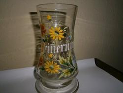 Kézzel festett hibátlan -nagyon szép üveg  söröskorsó 1/2 literes