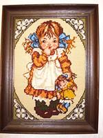 Kislány babával, gobelin