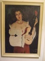 Cigánylány hegedűvel nagy vászon festmény