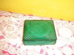 Malachit színű antik cseh üveg doboz,  art deco zöld ékszeres