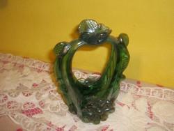 Malachit színű antik cseh üveg
