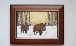 Vadász festmény - Téli séta, vaddisznók képkerettel * ÚJ*