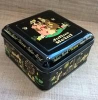 Régi szép állapotú régi ritka Julius Meinl fém doboz