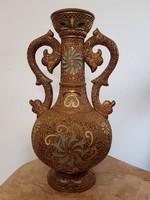 KÜLÖNLEGES!!! Wilhelm Schiller & Son WS&S jelzett majolika perzsa váza 1880 körül