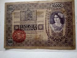 1918-as 10000 Korona Magyarország Felülbélyegzés