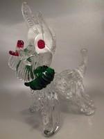 Muránói üveg kutya kutyus szobor nagy méretű