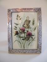 Régi, szép ezüst asztali képkeret eredeti akvarell képpel