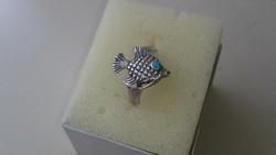 Ezüst gyűrű kékszemű halacskákval 925.