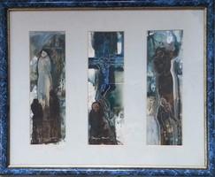 Buzás András - Falusi Golgota 40 x 60 cm olaj, papír
