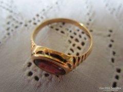 ART DECO DEKO VÖRÖS KÖVES 14 karátos jelzett arany férfi gyűrű ELEGÁNS ékszer