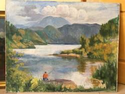 KRIZSÁNNÉ CSIKÓS ANTÓNIA (1887-1987) Tájkép horgásszal 100x80