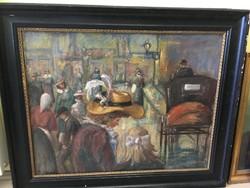 ISMERETLEN festő: Kalapos nő, lovaskocsival, 90x72