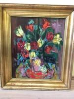 FREYTAG ZOLTÁN (1901-1983) Tulipánok, Képcsarnokos, 50x60