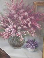Havlik Júlia Virágcsendélet o.,v.jjl. festménye széles aranysz.keret-hangulatos jó kép,ajándékba is