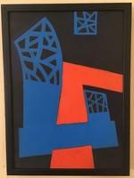 A. Varga Imre (1953-): Absztrakt kompozíció, akril, farost 37 cm X 27 cm kerettel