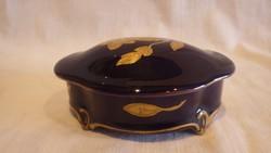 JLMENAU ECHT KOBALT kézifestett aranyozott porcelán bonbonier
