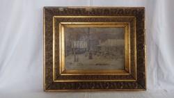 Jelzett olaj-karton festmény téli táj 44x52 cm