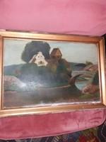 Öreg, vetemedett olajkép, kartonon, eredeti keretében, 51x33 + keret